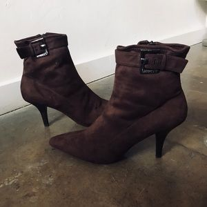 BCBGirls Brown Buckle Ankle Boots